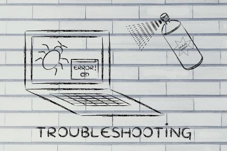 troubleshooting: mal funcionamiento de solución de problemas: deshacerse de los bichos informáticos con un spray divertido