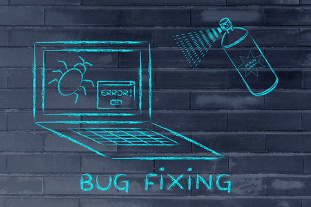 malfunction: fixing computer bugs with a spray, funny illustration about the debugging process