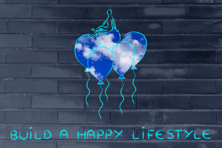 sky metaphor: build a happy lifestyle, metaphor of person flying on balloons with sky fill Stock Photo