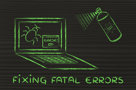 fatal: fixing fatal errors: getting rid of computer bugs with a funny spray Stock Photo