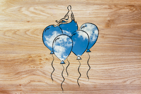meditation help: win over stress and anxiety, metaphor of person flying on balloons with sky fill Stock Photo