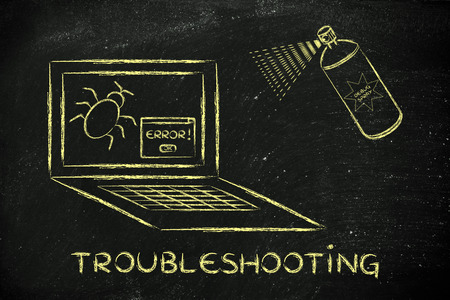 solucion de problemas: troubleshooting malfunctions: getting rid of computer bugs with a funny spray Foto de archivo