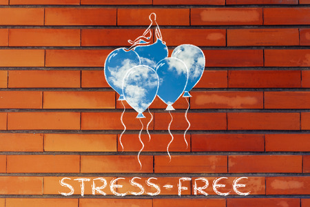 meditation help: live stress-free, metaphor of person flying on balloons with sky fill