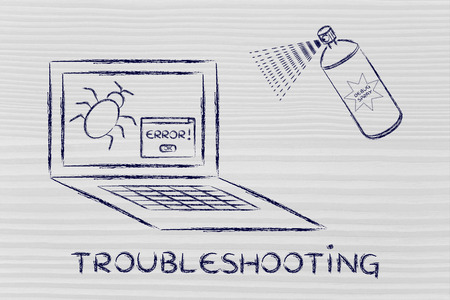 debug: troubleshooting malfunctions: getting rid of computer bugs with a funny spray Stock Photo