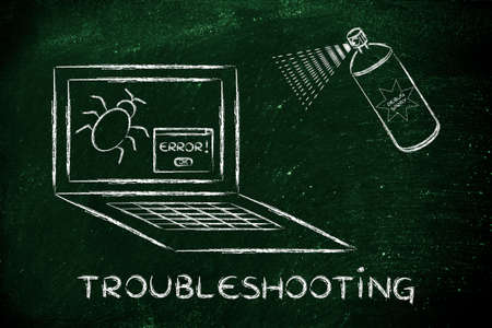 troubleshooting: troubleshooting malfunctions: getting rid of computer bugs with a funny spray Stock Photo