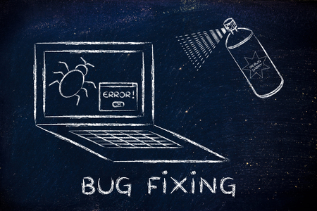 debugging: fixing computer bugs with a spray, funny illustration about the debugging process
