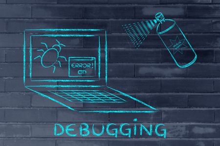 probleml�sung: troubleshooting malfunctions: getting rid of computer bugs with a funny spray Lizenzfreie Bilder