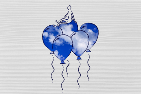 sky metaphor: win over stress and anxiety, metaphor of person flying on balloons with sky fill Stock Photo