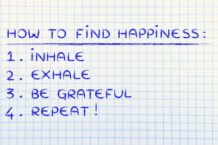 exhale: yoga inspired steps to happiness: inhale, exhale, feel grateful Stock Photo