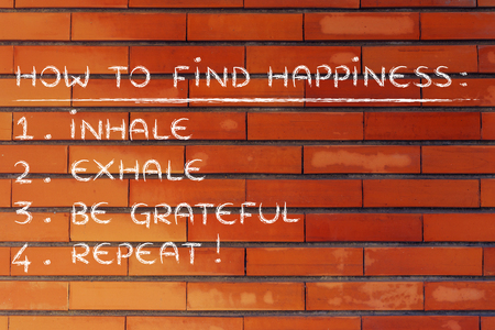 to inhale: yoga inspired steps to happiness: inhale, exhale, feel grateful Stock Photo