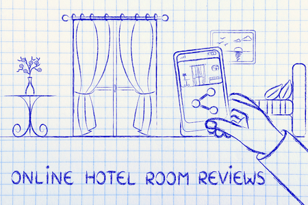 hotel reviews: guest reviews and feedback in the hotel industry: man sharing a photo of the room on his phone