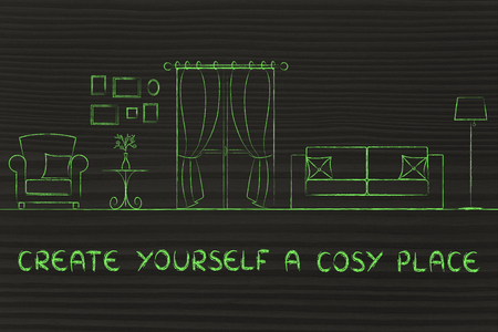 cosy: create yourself a cosy place: illustration of room with furniture and mixed items