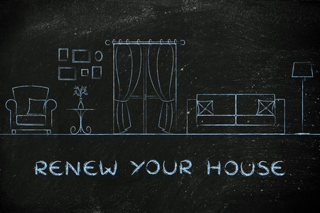 to renew: renew your house: illustration of room with furniture and mixed items