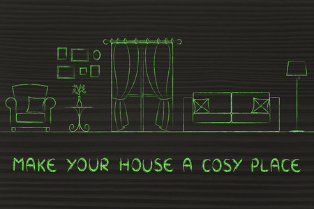 cosy: make your house a cosy place: illustration of room with furniture and mixed items Stock Photo
