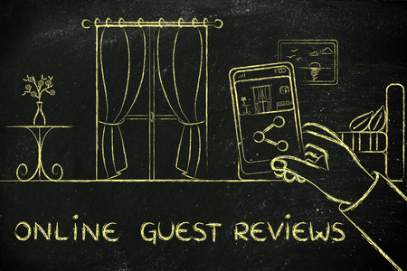 hotel reviews: online guest reviews in the hotel industry: man sharing a photo of the room from his mobile