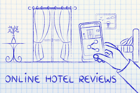 hotel reviews: online reviews in the hotel industry: man sharing a photo of the room from his mobile