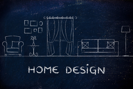 style advice: home design: illustration of room with furniture and mixed items