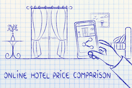 hotel reviews: online price comparison in the hotel industry: man sharing a photo of the room from his mobile Stock Photo