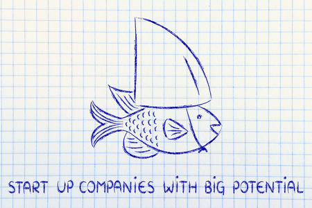 pretending: start-up with big potenial: small fish pretending to be a shark