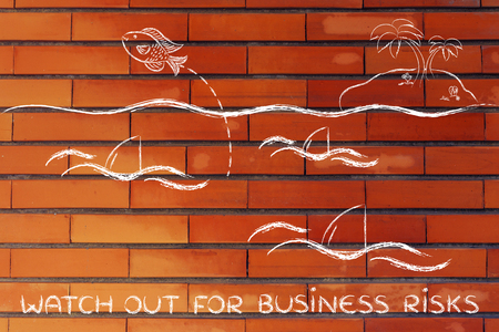 getting out: watch out for business risks: fish getting out of a sea full of sharks