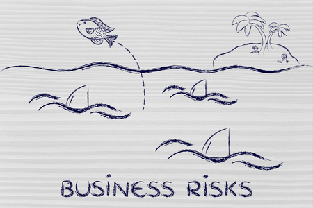 getting out: acting against business risks: fish getting out of a sea full of sharks Stock Photo