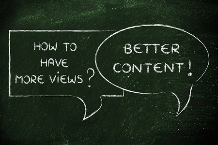 question and answer about social media marketing: upload better content to have more views Stock Photo