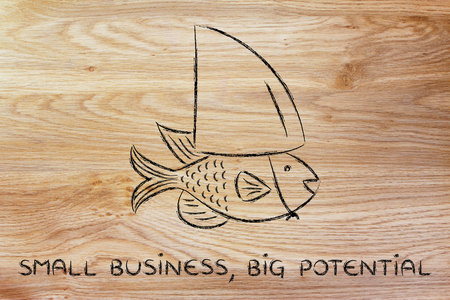 small business, big potential: small fish pretending to be a shark Stock Photo