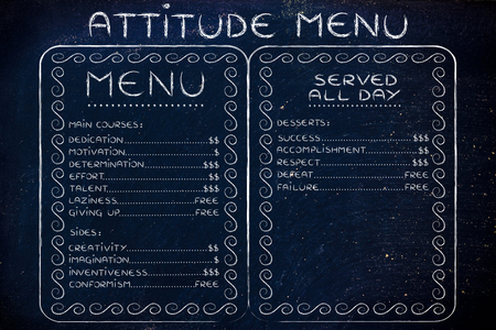 funny menu depicting the cost of success vs failure and others Stock Photo