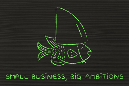 ambitions: small business, big ambitions: small fish pretending to be a shark Stock Photo