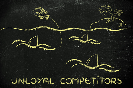 getting out: concept of unloyal competition: fish getting out of a sea full of sharks