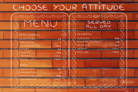 inventiveness: funny attitude menu depicting the effort required for success vs failure and others