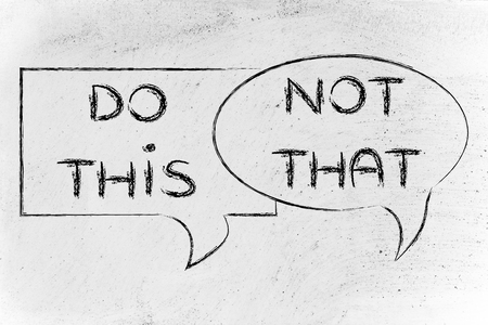 comic bubbles with tips or instructions: do this, not that