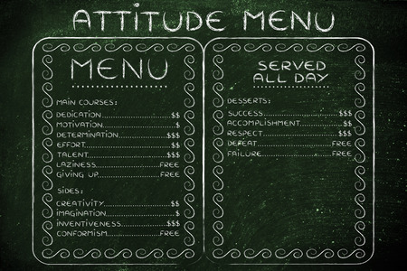 inventiveness: funny menu depicting the cost of success vs failure and others Stock Photo