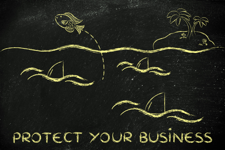protecting your business: protecting your business from dangers: fish getting out of a sea full of sharks Stock Photo