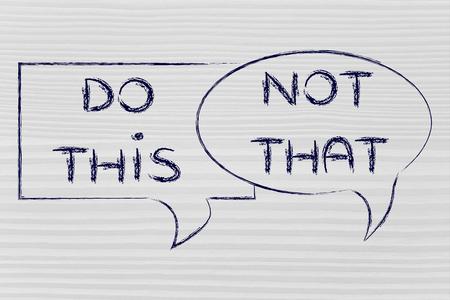 obedecer: burbujas cómicas con consejos o instrucciones: hacen esto, no es que Foto de archivo