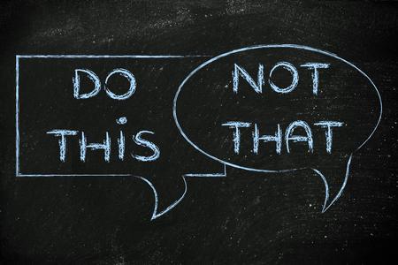 obedecer: burbujas c�micas con consejos o instrucciones: hacen esto, no es que Foto de archivo