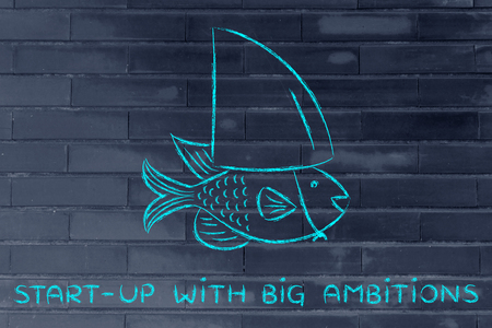 start-up with big ambitions: small fish pretending to be a shark Stock Photo