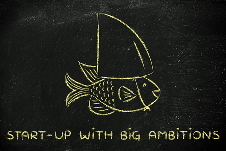 pretending: start-up with big ambitions: small fish pretending to be a shark Stock Photo
