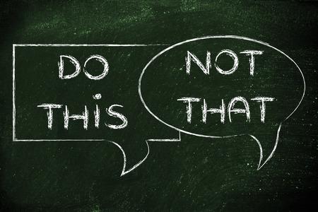 bulles de bandes dessinées avec des conseils ou des instructions: faire ceci, pas cela Banque d'images