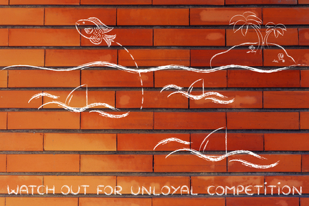 disloyal: escaping unloyal competition: fish getting out of a sea full of sharks