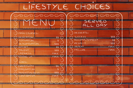 inventiveness: funny menu depicting different life attitudes and how valuable their are Stock Photo