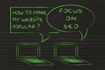 seo optimization: computer conversation about blogging and digital marketing tips: SEO to be popular