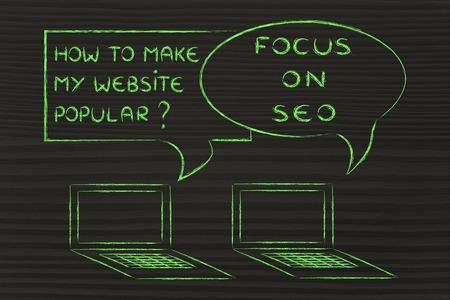 ordinateur conversation sur les blogs et des conseils de marketing numérique: SEO pour être populaire Banque d'images