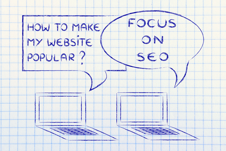 computer conversation about blogging and digital marketing tips: SEO to be popular