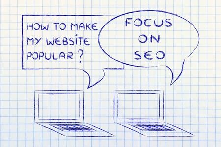 Ordinateur conversation sur les blogs et des conseils de marketing numérique: SEO pour être populaire Banque d'images - 45552360