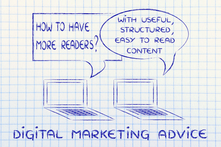 digital marketing tips: create useful, structured, readable content Stock Photo