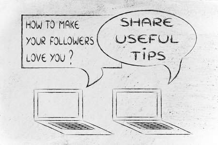 advies: computer conversation about blogging advice: shareuseful tips