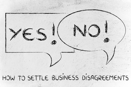 business disagreement: yes, no: comic bubbles with opposite point of views expressing a business disagreement