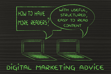 useful: digital marketing tips: create useful, structured, readable content Stock Photo