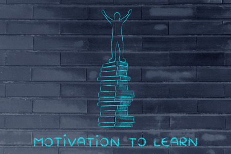 master degree: motivation to learn: happy accomplished person on top of pile of books